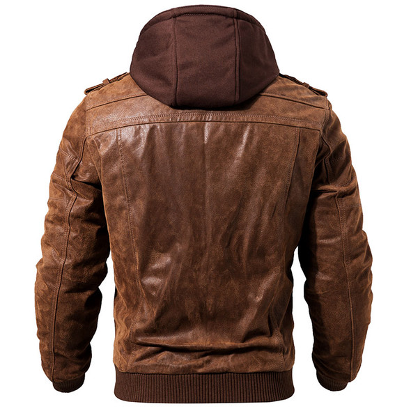 Genuine Leather Rugged Motorcycle Jacket with Removable Hood