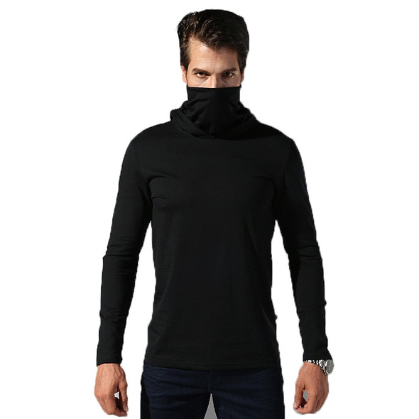 Men's Military Long Sleeved Sweatshirt with Hoodie, Turtleneck with Mask