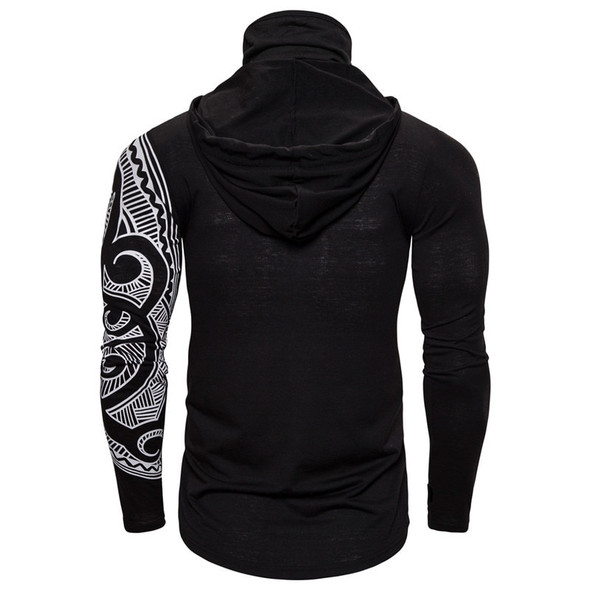 Long Sleeve Slim Fit Hoodie with Tribal Print Mask and Sleeve – Hoodie with built-in Mask