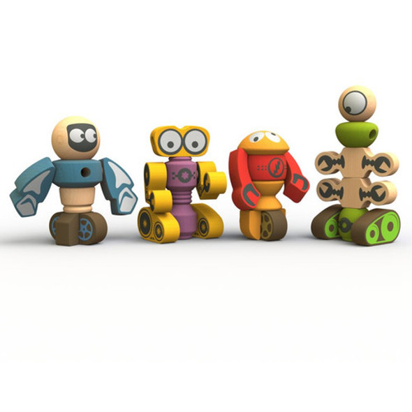 eco-friendly wood robot building toy set -autumn dreams store