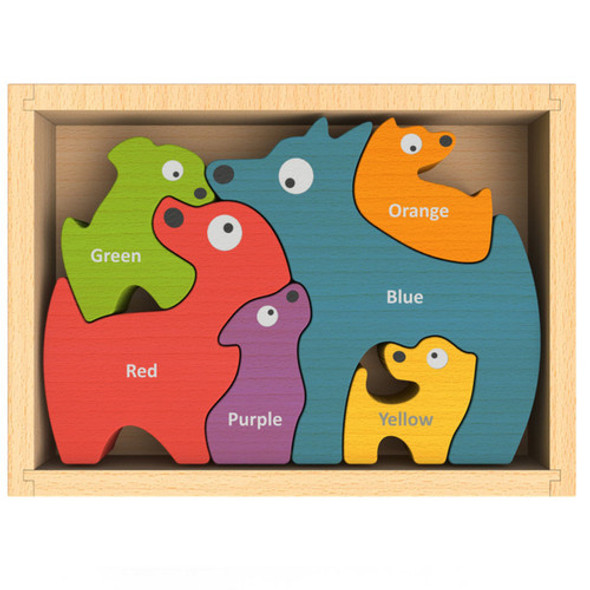 eco-friendly wood toy dog puzzle - autumn dreams store