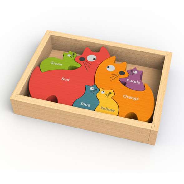 eco-friendly wood toy cat puzzle - autumn dreams store