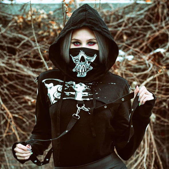 Gothic Punk Long Sleeve Crop Top Black Hoodie with Skeleton Print and Mask