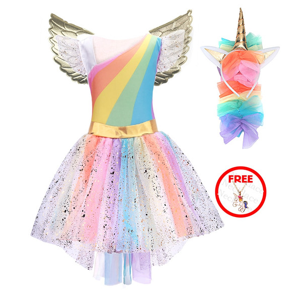 Unicorn Princess Costume Dress with Tutu, Unicorn Headband, and Gold Wings