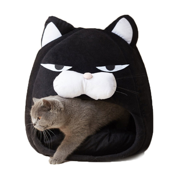 Black Cat Fleece Bed Cave - Warm & Soft Pet Tent for Cats with Waterproof Bottom