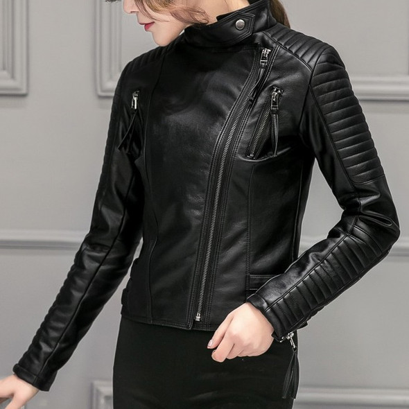 Soft Leather Slim Black Motorcycle Jacket with Zipper Design