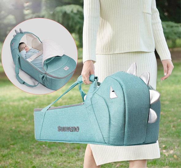 Dino Baby Foldable Travel Bed - Easy Carry On Nest Bed Carrycot for Newborns