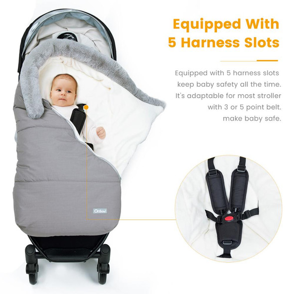 Winter Warm Baby Sleep Sack with Fur Collar – Children's Stroller Cover