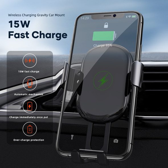 Car Vent Phone Holder with Intelligent 15W Rapid Qi Wireless Charger  for iPhone 12, Samsung, and Android Devices