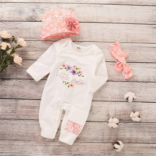 Little Sister Long Sleeve Winter Baby Girl Jumpsuit - 3Pcs Set