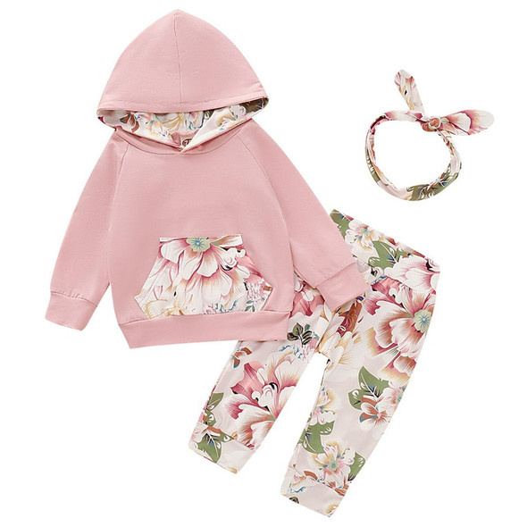3pcs Set Floral Print Hoodie, Long Pants and Headband for Babies and Toddlers
