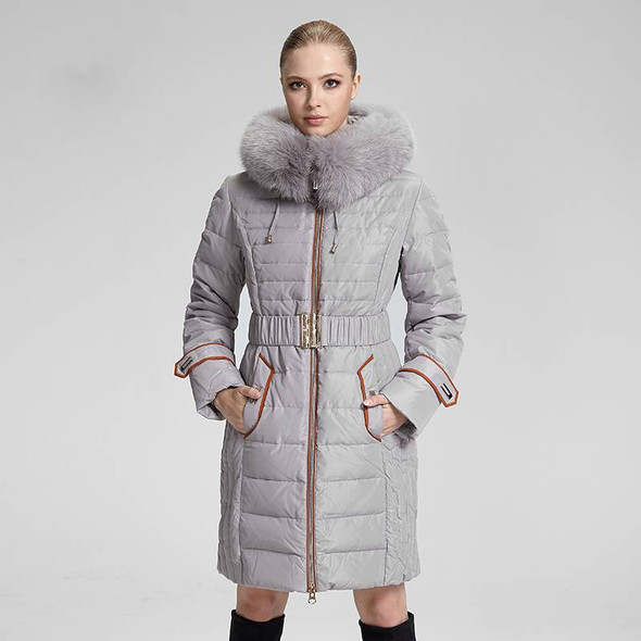European Style Hooded Lady Fox Fur Down Jacket - Women's Winter Long Parka