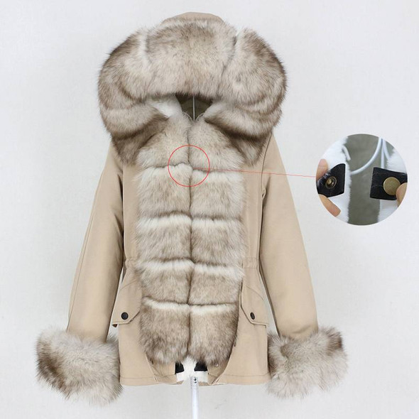 Premium Short Winter Parka with Real Fox Fur Collar and Cuffs– Women's Natural Fur Winter Coat