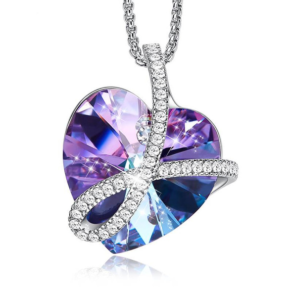 Mystic Heart Pendant Necklace with Purple Swarovski Crystal