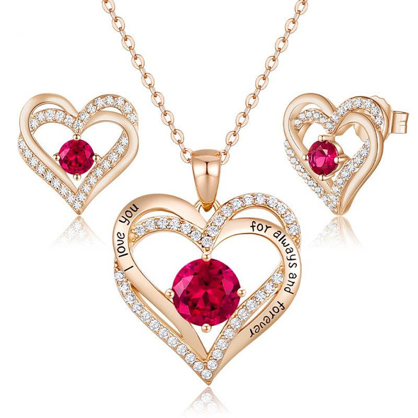 Birthstone Heart Pendant Necklace and Stud Earrings Set - 925 Sterling Silver Gold Plated Jewelry Gift Set