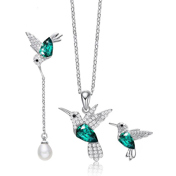 Hummingbird Necklace and Earing Set - 925 Sterling Silver with Swarovski Crystals Jewelry Gift Set