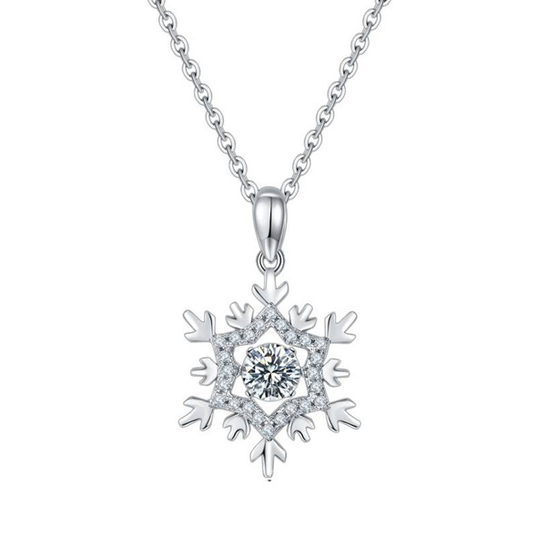 Snowflake Moissanite Diamond Pendant and Sterling Silver Necklace with Twinkle Setting for Women
