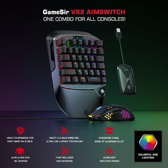 Pro Gaming Wireless Keyboard and Mouse Adapter for PC, Xbox, Playstation, and Nintendo Switch with 36 Key and RGB Backlit Lighting