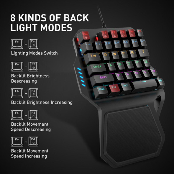 Portable One-Handed Mechanical Gaming Keyboard and Mouse with 36 Keys and 7 RGB Backlighting Modes