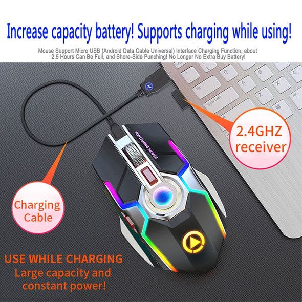 2.4G Optical Wireless or Wired 7 Key Rechargeable Silent Gaming Mouse with 1600 DP Ergonomic Design and RGB LED Backlit USB