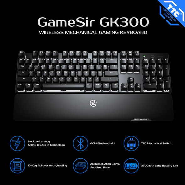 Pro Gaming Bluetooth 2.4GHz Wireless Mechanical Keyboard with TTC Blue Switches, 1ms Low Latency, Hand Rest and 104 Standard Keys for Windows PC, Laptop, iPad, and Mac