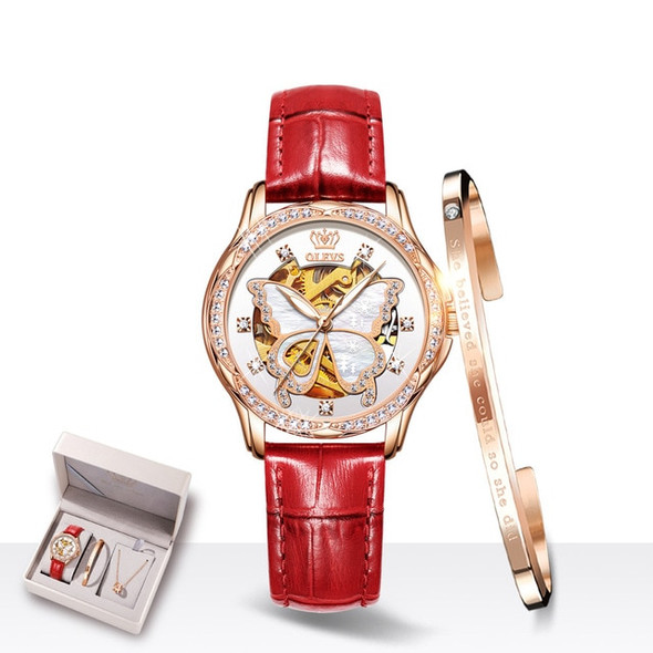 Luxury Butterfly Mechanical Watch and Fashion Set – Ladies Ceramic and Leather Hollow Design Wrist Watch