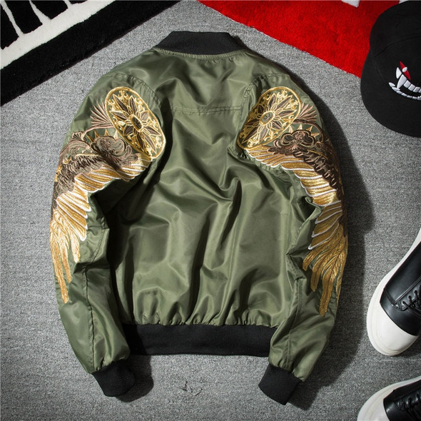 Gold Wings Embroidery Bomber Jacket - Autumn and Spring Mens Streetwear Jacket