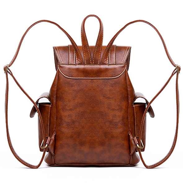 Women's Vintage Leather Drawstring Backpack