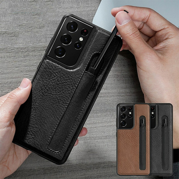 Leather Phone Case with Stylus S Pen Socket for S21 Ultra