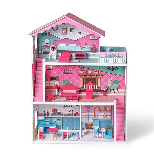 Wooden Pink Dollhouse and Play Set with Furniture and Accessories