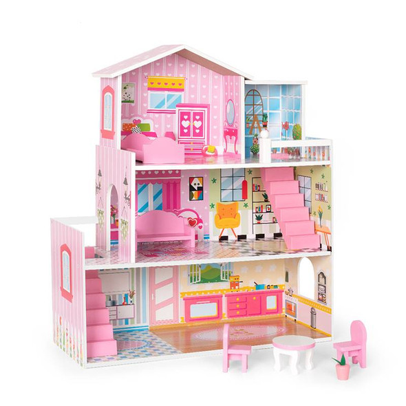 Wooden Modern Dollhouse and Playset with Furniture and House Accessories