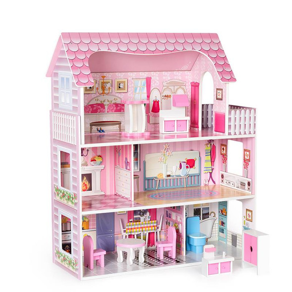 Wooden Pretty Dollhouse with Furniture and House Accessories