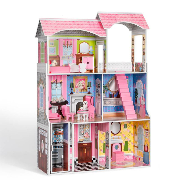 Wooden Tall 3 Floor Dollhouse and Play Set with Furniture and House Accessories