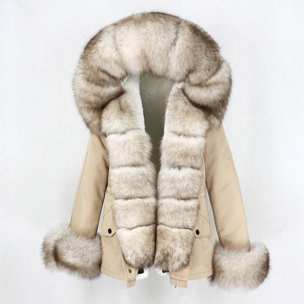 Premium Short Winter Parka with Real Fox Fur Collar and Cuffs– Women's Natural Fur Winter Coat
