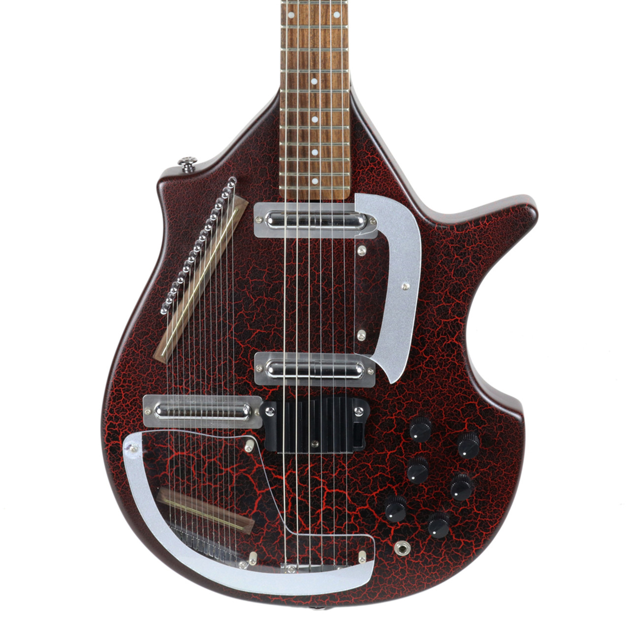 used rogue electric sitar guitar in red crackle finish cream city music. Black Bedroom Furniture Sets. Home Design Ideas