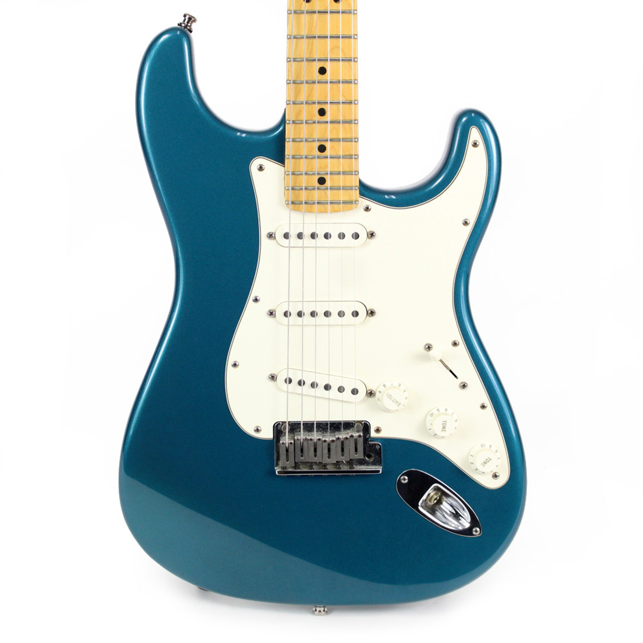 used 2000 fender american standard stratocaster electric guitar in teal blue cream city music. Black Bedroom Furniture Sets. Home Design Ideas