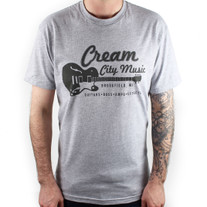 Cream City Music Guitar Design T-Shirt in Grey SMALL