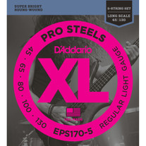 D'Addario EPS170-5 ProSteels 5-String Long Scale Bass Strings 45-130
