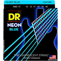 DR Strings NBE-10 Hi-Def Neon Blue K3 Coated Electric Guitar Strings 10-46