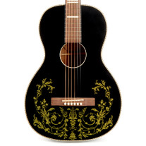 Recording King Dirty '30s Series 7 Acoustic - Matte Black with Floral Pattern