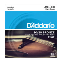 D'Addario EJ62 80/20 Phosphor Bronze Light Mandolin Strings .010 - .034