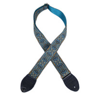 """Souldier """"Arabesque"""" Turquoise 2"""" Guitar Strap with Navy Ends"""
