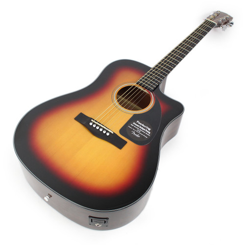 Fender CD60CE Cutaway Dreadnought Acoustic-Electric Guitar in Sunburst with  Case