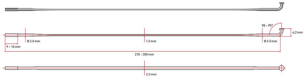 2.0mm Bladed 262mm J-bend Black Each DT Swiss Aero Comp Spoke