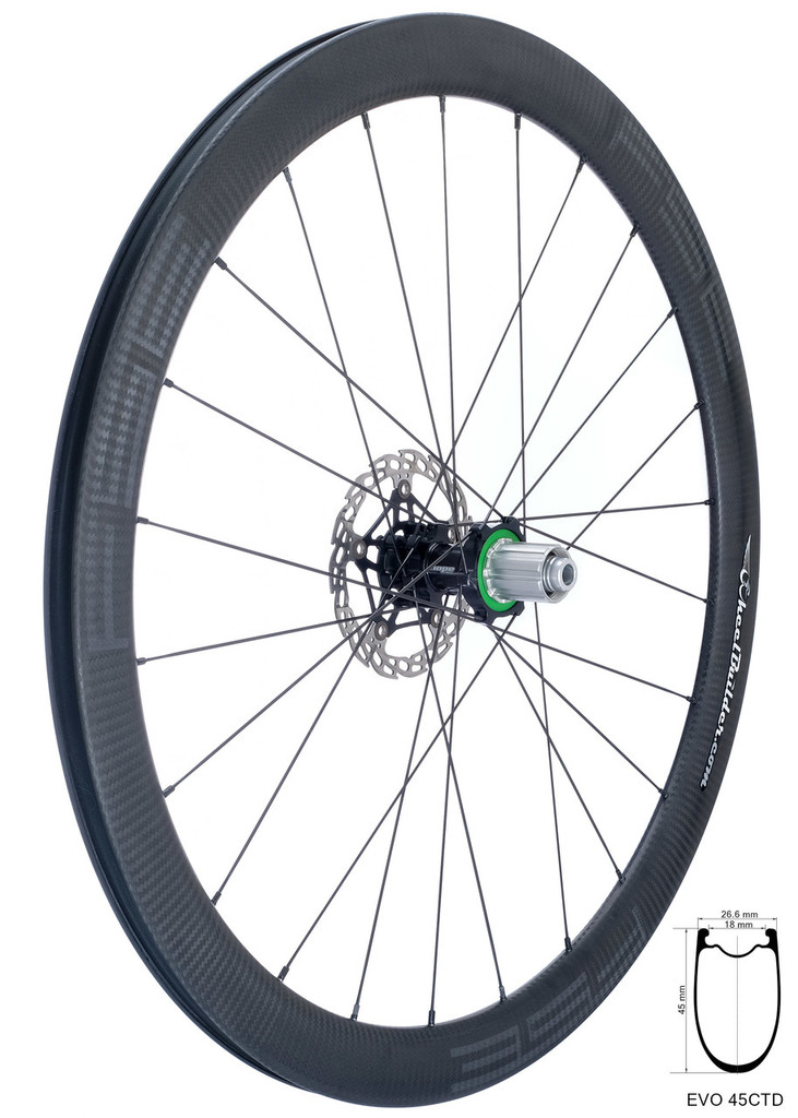 FSE EVO 45CTD rear wheel with Hope RS4 road disc hub