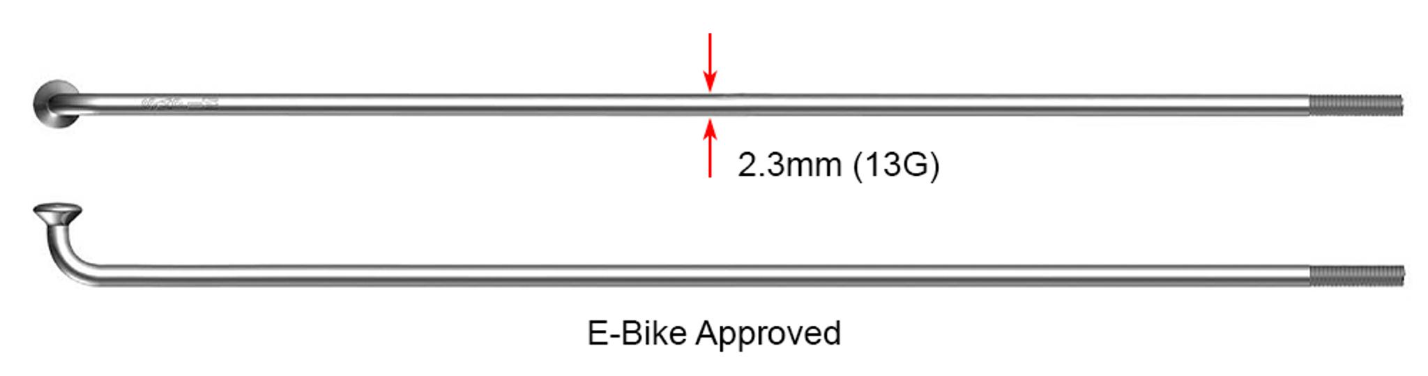 +Nipples E-Bike Pack of Four Sapim Leader 13g Spokes SILVER