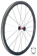 FSE EVO 35CT Road Tubeless Clincher with 240S front hub, DT Aerolite spokes black and white