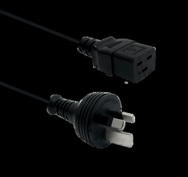IEC-C19 1m Cord Blk 15A Mains Plug - K3744-115
