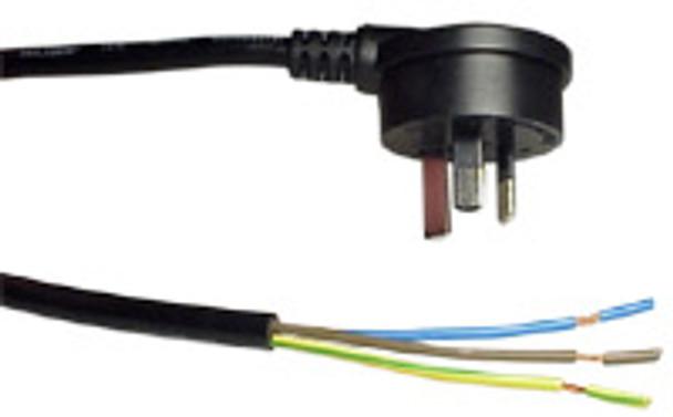 3-Pin R/A Mains 2m Blk 1.00mm' (Strip 65+10) - K3785-002
