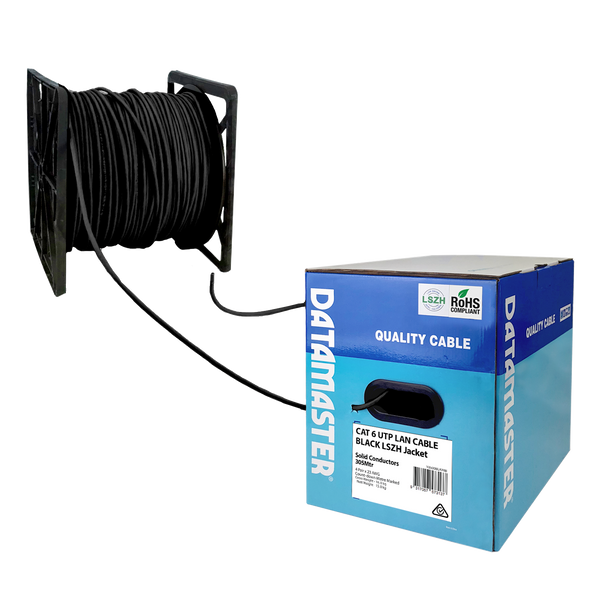 Cat6 Solid Cable; UTP Cable 305m Reel In Box: Black